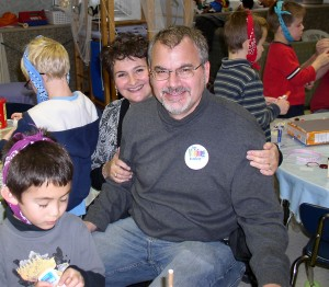 Kathleen and Jonathan Wright in her classroom at Lakewood Elementary.