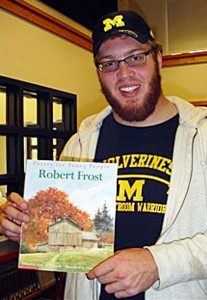 University of Michigan offensive lineman David Moosman recently sixth-grade language arts classes at Tappan Middle School, where he read poetry by Robert Frost and talked with students about the importance of reading and the importance of academics while in an athletic program at the university.