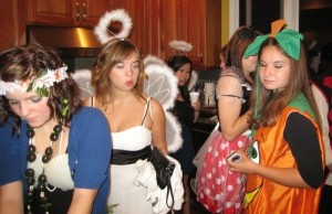 Members of A2ties celebrate Halloween in costume (photo by David Torres. Photo above by Amelia Brinkerhoff)