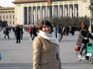Kristi Bishop at Tienanmen Square, Beijing, China during her December trip with People to People.