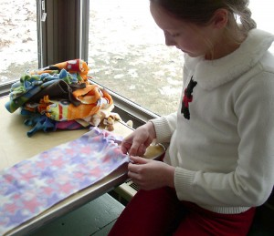 Leftover fleece is used to make blankets for the Delonis Center in Ann Arbor.