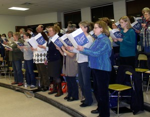 Civic Chorus members practice a variety of songs as they prepare for a spring concert. Both annual concerts by the group are free.
