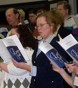 Members of the Ann Arbor Civic Chorus at a recent Monday night practice.