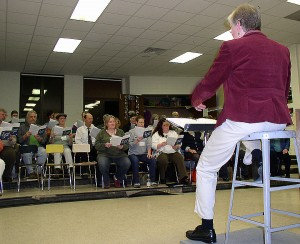 Linda Jones leads the Civic Chorus in rehearsal, which takes place every Monday evening at Slauson Middle School.