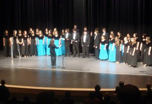 "Skyline High School Bel Canto and a cappella Ensemble choirs perform ""Lift Ev'ry Voice and Sing"" during the annual ""NAAPID at Night"" student talent show."