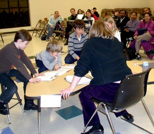 King Elementary teacher Rebecca Gracey and students to a reading demonstration for parents.