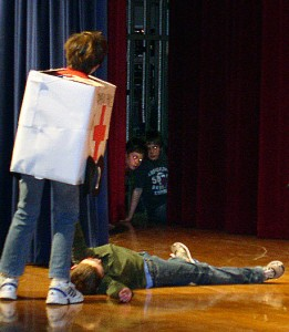 Clague ACT-UP students in one of several skits presented.