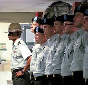 Michael White at Fort Benning, Georgia, training recruits.