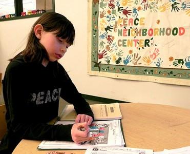 Emily Cornelius does homework