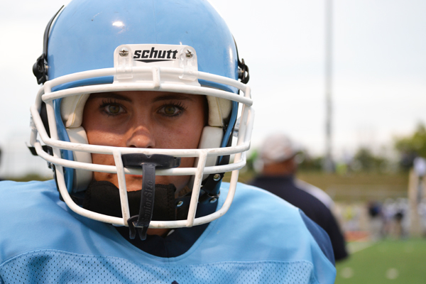 Victoria Norris is the first female player on the Skyline football team.