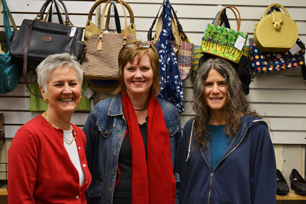 Ann Arbor PTO Thrift Shop Janet Fritsch, Director of Community Relations Ann Farnham, and Manager Leslie Wolfe