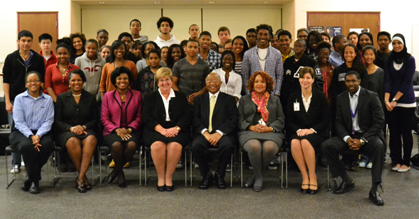 Dr. Comer with Rising Scholars students