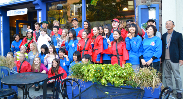 Group shot of the Hikone and Ann Arbor students outside of Conor O'Neills Sunday, Oct. 7.