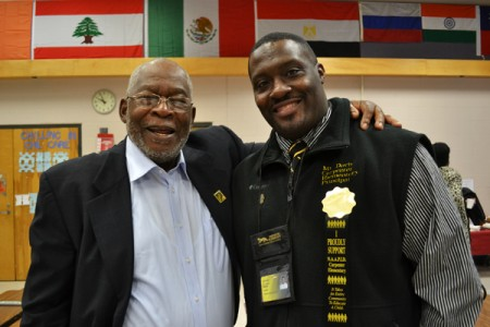 NAAPID founder Joe Dulin with Carpenter Elementary Principal Charles Davis, Jr.