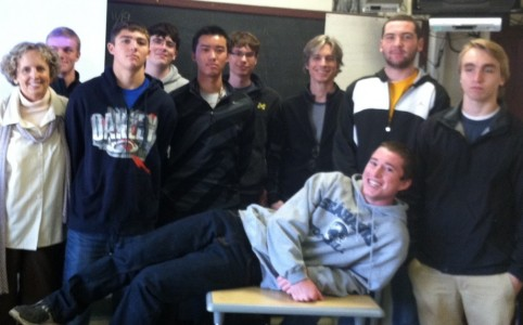 Cartoonist Dave Coverly visits Pioneer High School English class