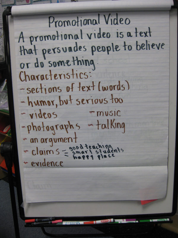 The fourth graders learned about persuasive writing as they planned and produced their videos.