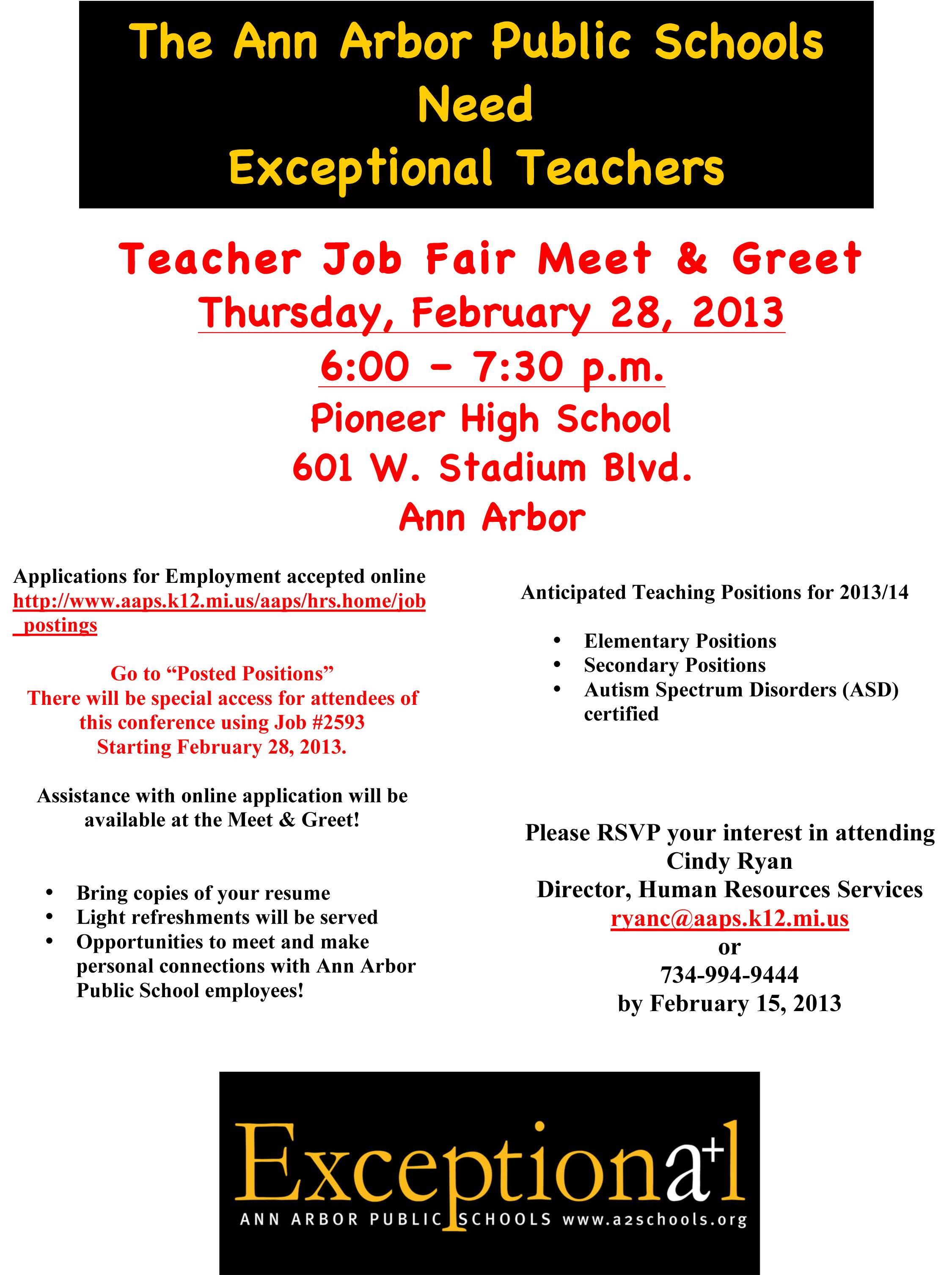Teacher Job Fair Meet and Greet Flyer
