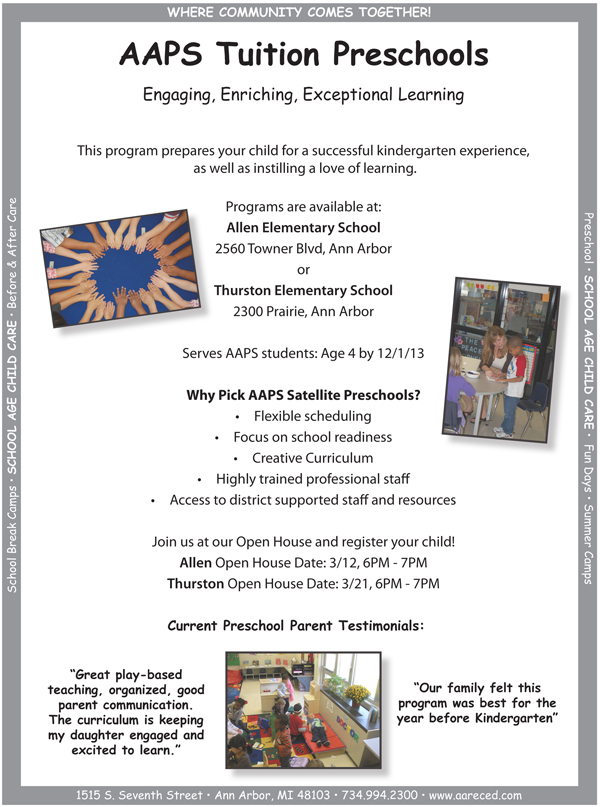 Tuition Preschools Open House Flyer