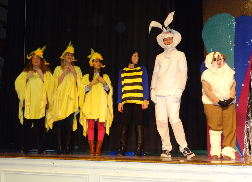 Burns Park teachers dressed up as barnyard animals to help kick off the school's Reading Month fundraiser for Heifer International.