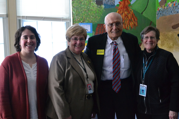 Media Specialist Rachel Erdstein, Superintendent Dr. Patricia Green, Congressman John Dingell, Principal Dr. Virginia Bell