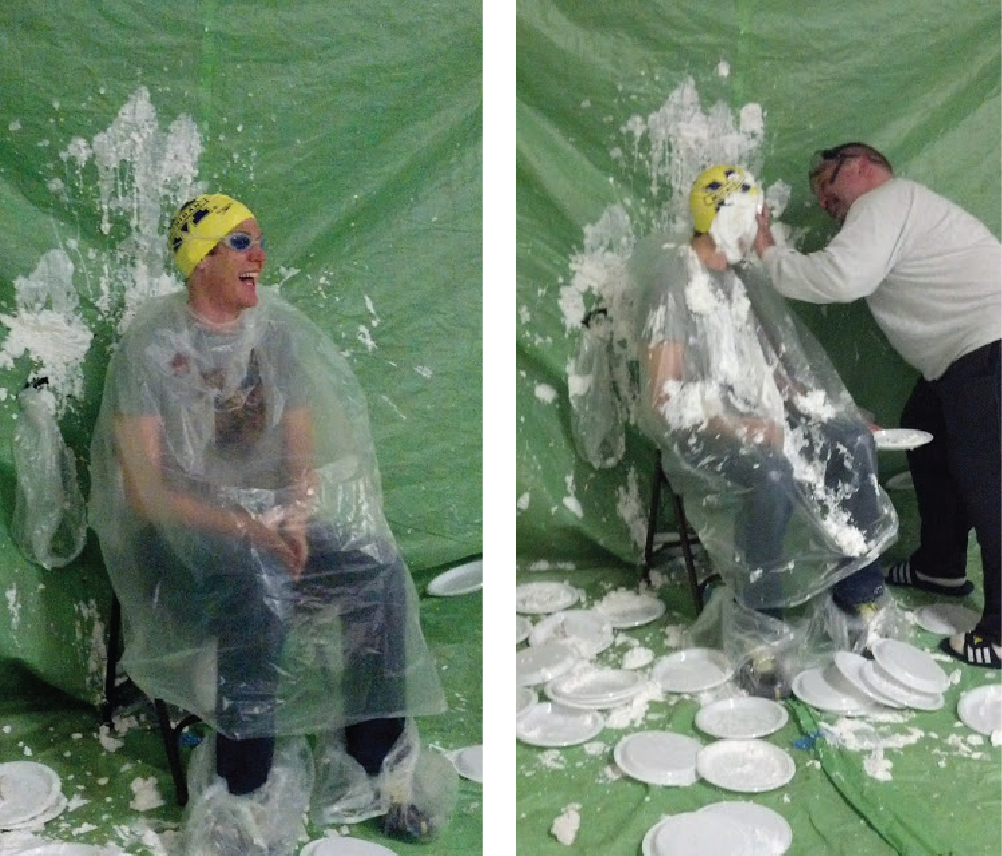 Mitchell Principal Kevin Karr gets pied in the face by Scarlett Principal Gerald Vazquez.