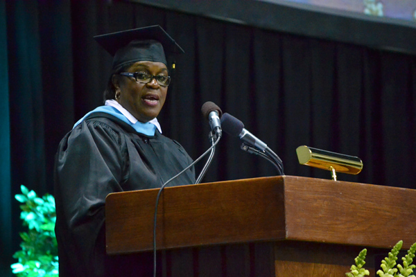 Principal Sulura Jackson at Skyline High School's first graduation, June 2012.
