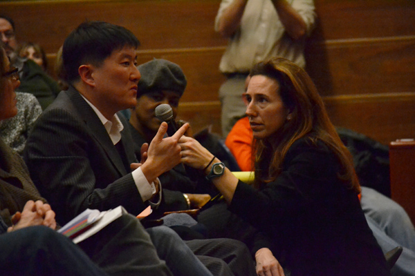 BOE member Christine Stead took audience questions, including one from Senator Hoon-Yung Hopgood.