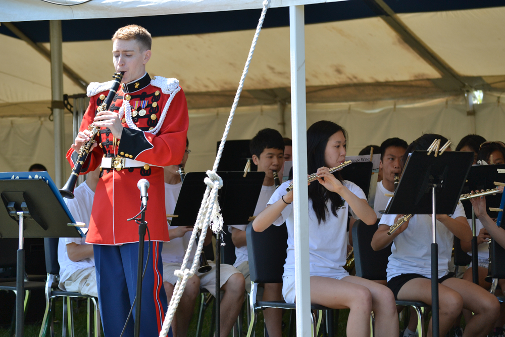 Huron High School alum, and U.S. Marine Band clarinetist Jonathon Troy returned to the district for a Picnic Pop performance  May 20, 2012. Troy also gave workshops with students at the high school.