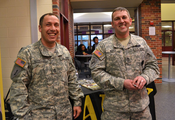 The US Army was one of many organizations available to talk with students and families at the fair Wednesday night.