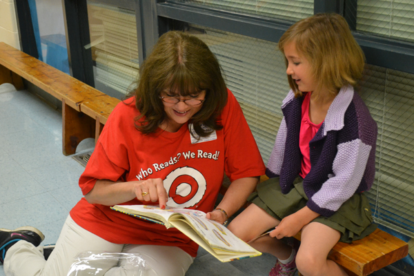 "Target employees volunteered at Lawton Elementary as part of ""Read Across America."""