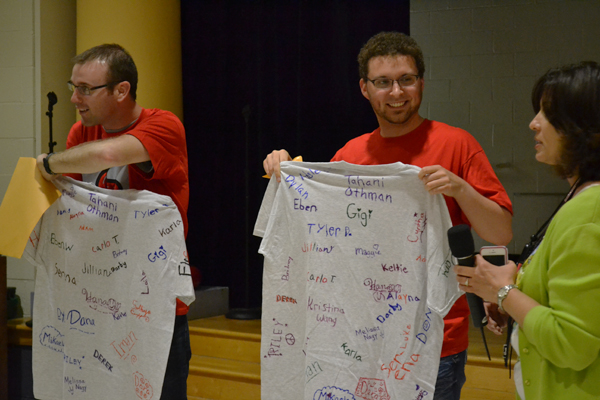 Tahani Othman's fifth graders presented the Toyota engineers with Lakewood Lizard t-shirts. The students signed the back.