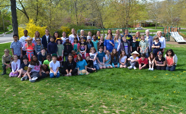 Mrs. Barrett's and Mrs. Waits' fifth grade classes pose with their U-M softball pen pals