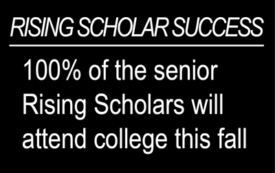 100 percent of senior Rising Scholars will attend college this fall