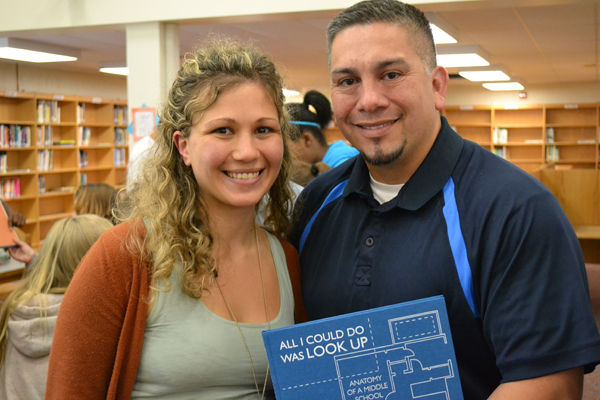 826michigan Volunteer Coordinator and Program Manager Frances Martin and Scarlett English Language Arts teacher Sal Barrientes.