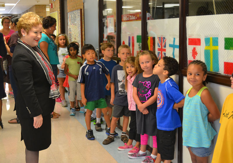 Dr. Swift visits Thurston Elementary on Sept. 3, 2013, the first day of school.