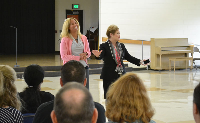 Thurston Principal Natasha York introduced Dr. Swift to parents shortly after the school day began.