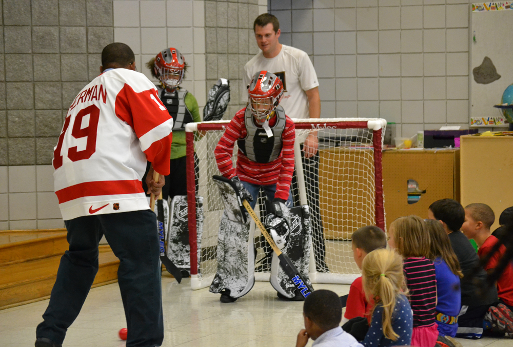The Red Wings School Assembly Program promoted the importance of healthy eating and exercise at Northside on Oct. 7, 2013. It also provided students the opportunity to compete with their teachers.
