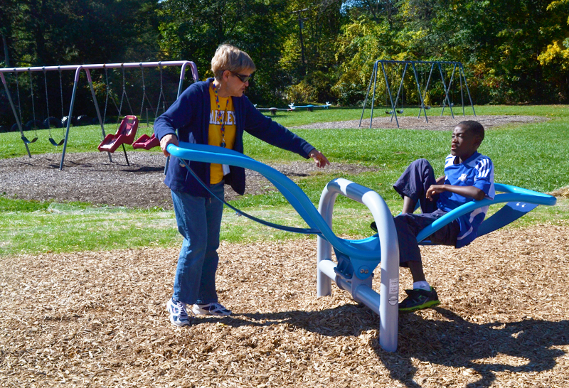 The new teeter totter allows kids to enjoy the ride without fear of falling off.