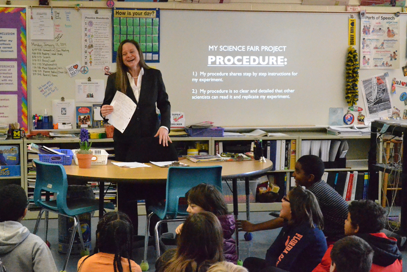 Emily Theriault-Kimmey leads a science lesson Jan. 13, 2014.
