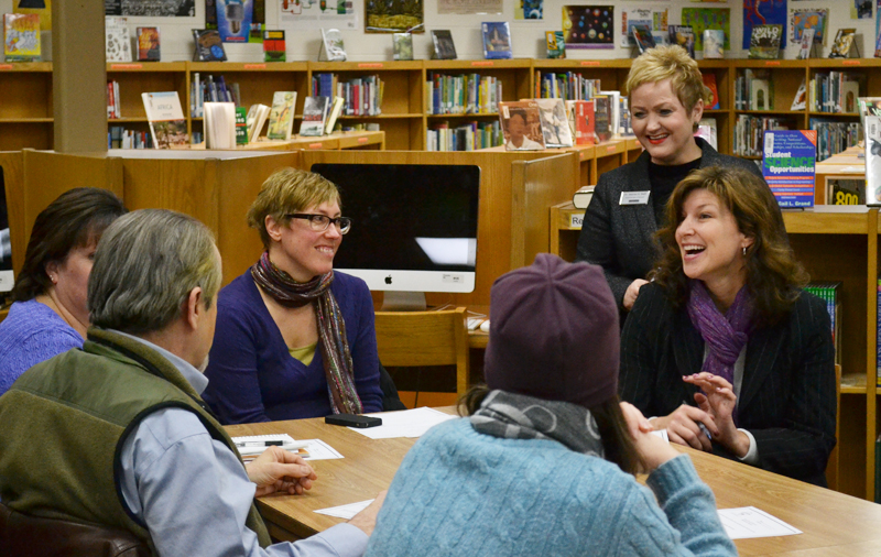 Superintendent Dr. Swift and Executive Director of Elementary Education Dawn Linden talk with parents and staff at Forsythe, Jan. 30, 2014.