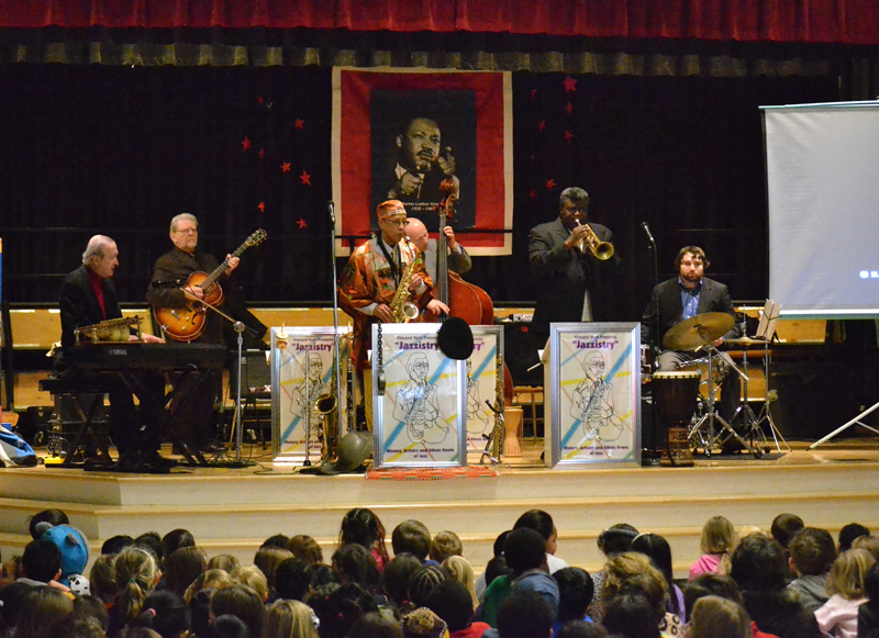 Jazzistry performs at Dicken Elementary on Feb. 10, 2014. The ensemble takes students on a journey of jazz, art and history. The week prior, the musicians talked with each grade about their instruments.