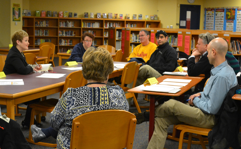 Superintendent Dr. Swift hears feedback from parents and staff at Slauson Middle School on Feb. 11, 2014.