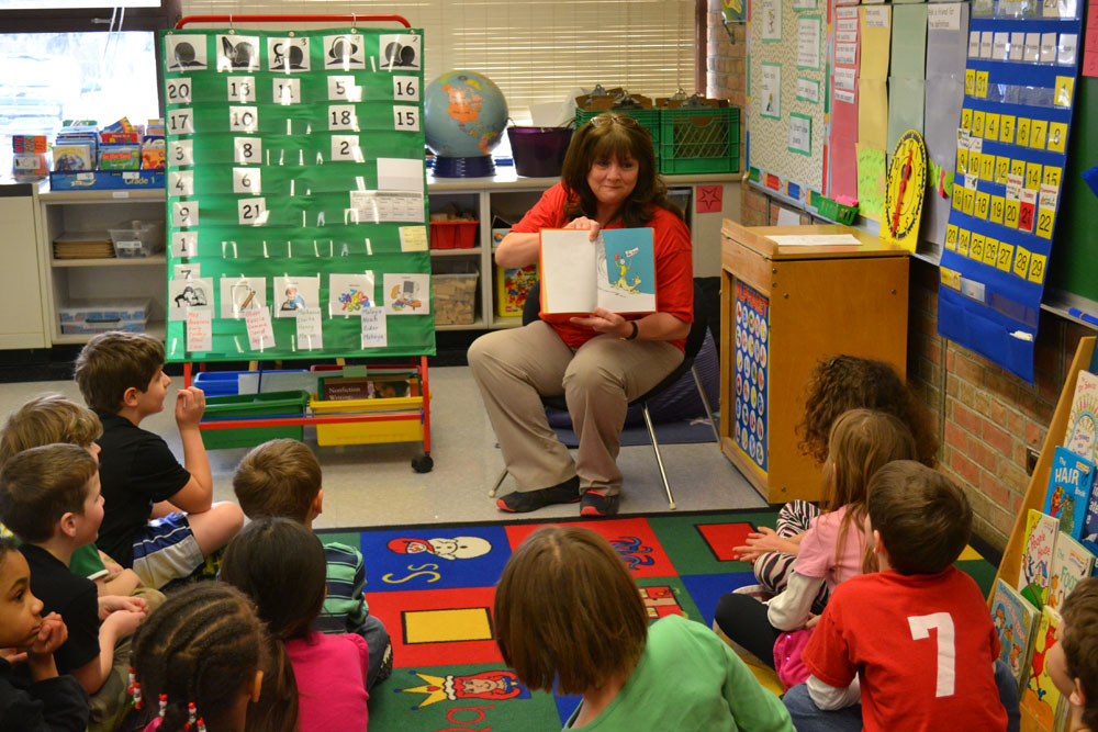 "Alice Timko reads ""Green Eggs and Ham"" at Abbot Elementary, March 24, 2014."