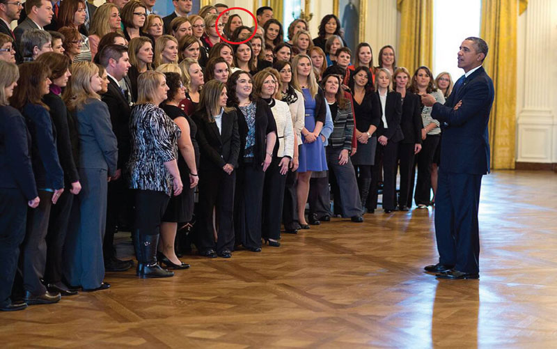 The White House released this official photo of all the teachers who received the Presidential Award for Excellence in Math and Science Education. Pattengill teacher Emily Theriault-Kimmey is circled in the back right.