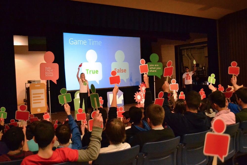 Clague seventh and eighth graders participate in an interactive assembly on online safety by Google, April 3, 2014.