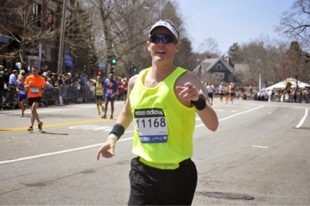 Mitchell Principal Kevin Karr at the 20-mile mark of the Boston Marathon