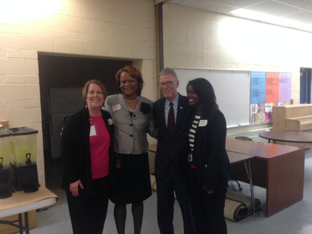 Pattengill Teacher Paula D'Addona, Bryant Principal Roberta Heyward, State Superintendent Mike Flanagan, Pattengill Principal Melita Alston
