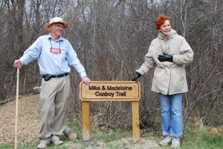 Mike and Madelaine Conboy with their Thurston Nature Center Trail Dedication