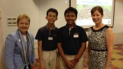 Superintendent Jeanice Swift and Jenna Bacolor, Executive Director of Rec & Ed meet students from the School for Science and Technology in Singapore, July 15, 2014