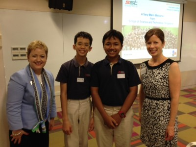 Ms Jenna Bacolor, Executive Director of Rec & Ed and Superintendent Jeanice Swift meet students from the School for Science and Technology in Singapore, July 15, 2014